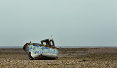 Skyboat {Explore!} (majestiele.co.uk) Tags: ocean blue sea seascape abandoned beach landscape boat kent rust shingle dungeness delapidated
