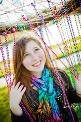 She Dreams in Color... (Charlotte, NC) (lunahzon) Tags: sparkles outdoors happy beads bokeh blueeyes naturallight whimsical daydreaming perky ballantyne beadedcurtain pinkfingernails awesomesmile blingy lunahzonphotography crazydreamcatcher batmitzvahpreshoot funrainbowscarf