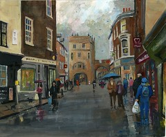 MONK BAR (VTLANDER) Tags: street york people rain shopping painting acrylic yorkshire wetpavement monkbar