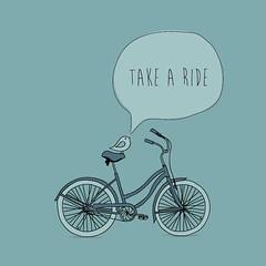 Take A Ride (DryIcons) Tags: cute bird bicycle illustration ride background retro vector