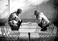 Crouching (oz2121) Tags: street blackandwhite white black boston asian chinatown chairs massachusetts chinese chess balance sep checkers crouch crouching xianqi silverefexpro