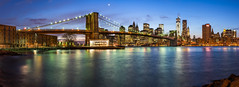 Empire Fulton Ferry Panorama (Michael.Lee.Pics.NYC) Tags: park bridge blue panorama newyork ferry skyline brooklyn night river long exposure carousel east hour empire fulton janes