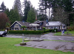 van13b09 Ferguson Point Teahouse, Stanley Park (CanadaGood) Tags: canada color colour building tree green vancouver restaurant bc britishcolumbia flag parking stanleypark 2013 canadagood thisdecade