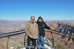 Gerald and Pamela at the Grand Canyon (pamelainob (Pamela Schreckengost)) Tags: arizona snow felix grandcanyon southrim desertview grandcanyonnationalpark desertviewdrive grandcanyonsouthrim geraldandpamela pamelaschreckengost pamschreckcom 2013pamelaschreckengost