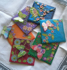 Butterflies (klio1961) Tags: beautiful spring handmade unique decorative objects polymerclay fimo resin madebyme authentic coasters silky decorated pardo cernit premo springcolors   xeiropoiito 12pcp2013