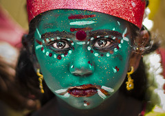 Little Khali (Ragavendran / Rags) Tags: green girl religious star kid eyes colours little traditional amman goddess makeup belief stare hinduism gaze thoseeyes lookintomyeyes cwc girlchild khali religioun kaveripattinam coloursofindia tamilgirl riotofcolours tamiltradition chennaiweekendclickers ragavendran littlekhali