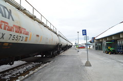 Empty TankTrain past Dorval Station (Michael Berry Railfan) Tags: cn quebec montreal dorval canadiannational tankcars gatx tanktrain