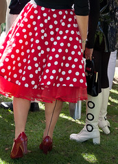 Polka dot (woolyboy) Tags: uk ladies red bw stockings fashion fifties boots westsussex skirt sixties polkadot goodwoodrevival woolyboy