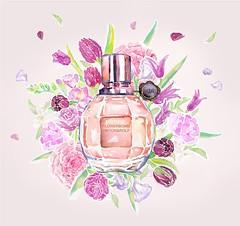 day-1_VIKTOR&ROLF (Liz Meester) Tags: viktorenrolf parfume watercolor ecoline parfum perfume pink floral flowerbomb flowerbombbuzz lizmeester liz meester