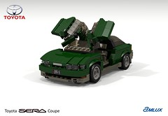 Toyota SERA Amlux (lego911) Tags: toyota sera amlux coupe butterfly door beetle auto car moc model miniland lego lego911 ldd render cad povray 1990s japan japanese lugnuts challenge 106 exclusiveedition exclusive limited special edition foitsop