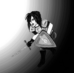 Amaranthia (Chaz Walker) Tags: character oc original female warrior medieval rpg game illustration halftone manga shield sword armour bw greyscale