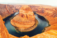 Arizona Horseshoe Bend with Colorado River in Glen Canyon (jev) Tags: trielmar161821mm leicam8 06000000 06007000 aerialview famousplace glencanyon glencanyonnationalrecreationarea grandcanyonnationalpark horseshoebendcoloradoriver horseshoecanyon majestic naturallandmark northamerica pagearizona scenics traveldestinations wate angle arizona beautyinnature canyon cliff colorado coloradoriver desert ecology ecosystem environment environmentalism grandcanyon horizontal land landscape nature outdoors photography river rock scenery tourism travel usa wide