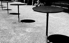 "Vor dem Apro / Before ""apero"" (krinkel) Tags: monochrome bw blackandwhite outdoor apro apero schatten shadows panasonic lumixdmc again minimal tisch"