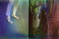 Checks, feet & stripes (ale2000) Tags: olympus pen ees2 ees halfframe kodak supra kodaksupra analog analogue film candid street streetphotography clothing checks scacchi stripes lines righe feet women tourists inthecity summer soup bleach bleached filmsoup filmisnotdead believeinfilm 35mm manipulated