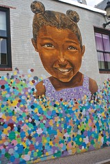 Bubbly (D. Brigham) Tags: walthammass bubbly mural outdoorart public outside building littlegirl multicolored bubbles balloons