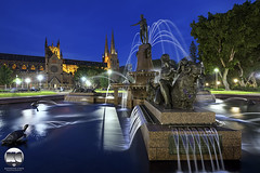 Sydney | Archibald Fountain and St. Mary's Catheral (kenneth chin) Tags: attraction archibaldfountain stmaryscatheral nikon d810 nikkor 1424f28g australia sydney twilight nsw city park catheral fountain blue yahoo google