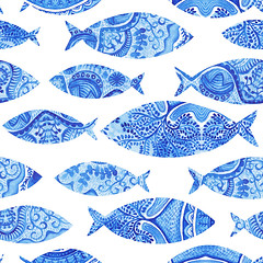 seamless pattern with fishes, watercolor hand painted background, watercolor fish, seamless background with stylized blue fish.Wallpaper, watercolor fabric, blue wrapping ornaments (lubov-markov) Tags: abstract animal aqua aquarium aquatic art backdrop background blue brush cartoon decor decorated decorative design dive drop fabric fish fishing fun graphic handdrawn homemade illustration isolated liquid marinelife nature ocean packaging paintings pattern scrapbook sea seamless seaside seawater shore spark swim texture underwater vector vintage wallpaper water watercolor white