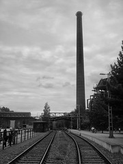 Abandoned Tracks (WrldVoyagr) Tags: hochofen blastfurnace deutschland blackandwhite germany photowalk duisburg gx7 500px tracks chimney bw panasonic lumix landschaftsparknord nordrheinwestfalen de