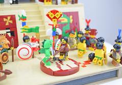 The Duel (Tlahuicole) (Cuahchic) Tags: lego aztecs temple sacrifice duel foitsop minifig mesoamerica priest