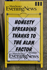 honesty (steve marland) Tags: news sign manchester typography words text stockport aboard manchestereveningnews