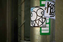 Out of One's Head (TerryJohnston) Tags: nyc newyorkcity urban streetart newyork art graffiti sticker dof bokeh tag urbanart slap slapart canoneos5dmarkiii 5dmarkiii