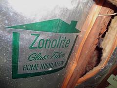 Glass Fiber Zonolite Insulation (Asbestorama) Tags: house home glass foil inspection insulation safety roll fiberglass fiber residential survey hazard asbestos batt fibrous zonolite