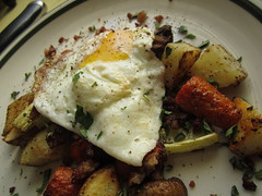 Roasted Root Veg and Pork Sausage Hash with Fried Egg (236ism) Tags: with egg sausage pork root veg fried hash roasted