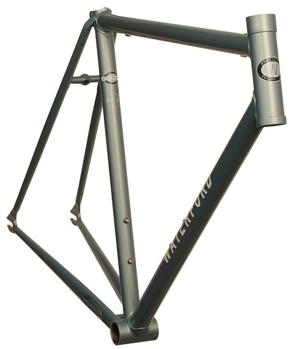 <p>Front view of Waterford 22-Series Artisan Road Fixed Gear in Sea Silver Poly.  It sports stainless steel track dropouts with bordered faces and a head tube extension.</p>