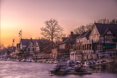 boathouserow (callmeflea) Tags: trees sunset philadelphia boats lights dusk rowing philly boathouse boathouserow rowers schuylkillriver