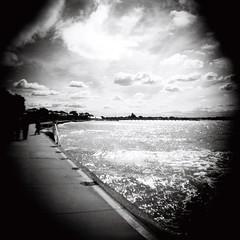 Barwon Heads sky (Kerrie McSnap) Tags: ocean sea sky blackandwhite bw 120 film clouds mediumformat square blackwhite holga lomo lomography toycamera barwonheads kodaktmax