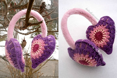 Crochet Earmuffs - Pastel Granny Heart (babukatorium) Tags: pink color art love wool fashion rose vintage circle furry funny colorful warm purple heart recycled handmade burgundy oneofakind pastel crochet moda peach violet fluffy style retro used romantic hippie earmuffs remake embellished bohemian multicolor whimsical renew accessory cupido haken hkeln croch ganchillo babypink earwarmers upcycled uncinetto handdecorated fattoamano  tii horgolt babukatorium