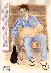 man's best friend (sarabeee) Tags: door portrait people cats house man home animal animals cat painting colours australia victoria watercolour watercolours teesdale
