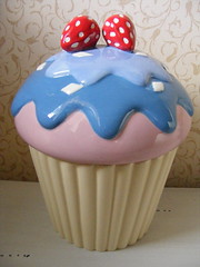 Cupcake Jar (Matalan) (**Cupcake Boutique**) Tags: blue ceramic cupcakes strawberries storage jar matalan