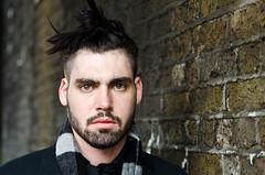 Matt (86/100) (drmaccon) Tags: street charity portrait man london scarf matt hair beard eyes nikon bricks streetportrait style stranger bricklane coolhair leadinglines 100strangers d5100 d5100photo