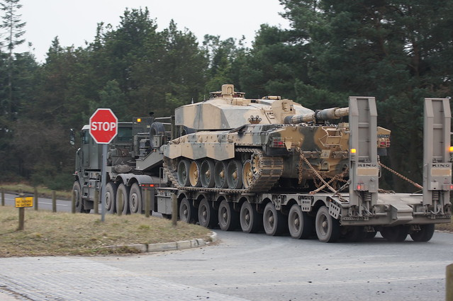 Challenger 2 main battle tank transported by Oshkosh M1070