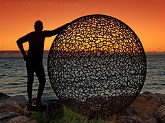 having a ball (PhotoArt Images) Tags: ocean sunset art beach australia sculpturesbythesea nikond700 nikon2470mm28 photoartimages brightonbeachadelaide brightonbeachsa