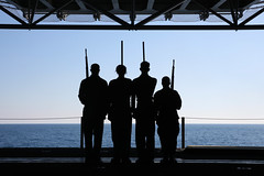 Sailors practice color guard drills at sea. (Official U.S. Navy Imagery) Tags: heritage america liberty freedom commerce unitedstates military navy sailors fast worldwide tradition usnavy atlanticocean protect deployed flexible onwatch beready defendfreedom warfighters nmcs chinfo sealanes warfighting preservepeace deteraggression operateforward warfightingfirst navymediacontentservice