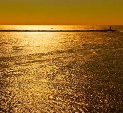 Liquid Gold (Ursel Graumann ON / OFF) Tags: lighthouse netherlands gold northsea liquid ijmuiden vigilantphotographersunite