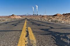 On the road - Page, AZ (gerdaindc) Tags: arizona usa yellow concrete energy roadtrip steam pollution page navajo coal ontheroad median debate lakepowel navajogeneratingstation coalfiredpowerplant triballands gerdadecorte leicam9p