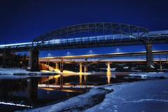 Minnesund bridges! [Explored] (Fredrik Svanholm) Tags: sky snow ice colors night canon dark lens stars photography eos photo amazing heaven shot image awesome bridges sharp stunning kit fredrik eidsvoll svanholm 650d t4i minnesund