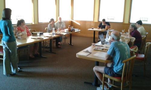 "Angela Davenport, Brittney Hull (Treasurer), Angela Bray of SGRC, Dave Hetzel (President), Nathan Wilkins (Secretary), visitor, Gretchen Quarterman, Bret Wagenhorst, John S. Quarterman (VP, photographing) • <a style=""font-size:0.8em;"" href=""http://www.flickr.com/photos/85839940@N03/8525678794/"" target=""_blank"">View on Flickr</a>"