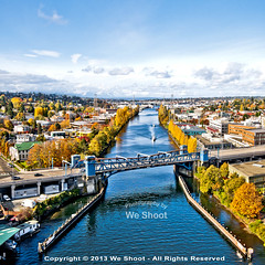 Fremont Bridge as seen from the Aurora Bridge (weeviltwin) Tags: seattle color boats washington colorful scenic fremont commercial drawbridge pugetsound aurorabridge fremontbridge waterway weshootcom