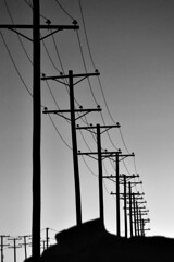 Day 194: Uneven bars (Bruce Guenter) Tags: blackandwhite bw monochrome silhouette power poles