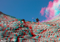 Scrambling Mt. Eiffel - Banff - Canadian Rockies - 3D (Marc Shandro) Tags: summer landscape rockies stereoscopic stereophoto 3d high rocks bright hiking altitude scenic sunny bluesky anaglyph climbing mountaineering banff elevation barren scrambling outdoorrecreation redcyan