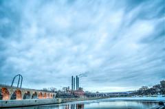 Lots of sky - blue hour (m01229) Tags: bridge sky minnesota clouds sunrise minneapolis mississippiriver bluehour hdr millruinspark photomatix d7000 nikon1024mm