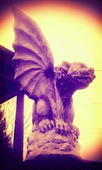 Gargoyle on Fox Street (Dead  Air) Tags: cameraphone sky portland stjohns gargoyle vignette droid foxstreet flickrandroidapp:filter=java phonecammanipulatedyellow