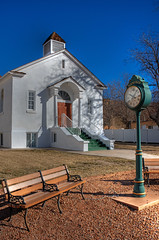 Pressed for Time (dbushue) Tags: southwest clock church bench utah nikon chapel rockville 2013 d800e