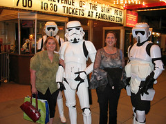 Dawn and Piper-Stormtrooper Saturday Night (Photo Squirrel) Tags: starwars cosplay stormtrooper wife girlfriend woman streetscene movie movietheater public film saturday premire boxoffice