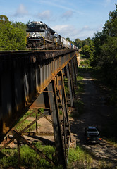 NS #143 crosses the Hooch (Kyle Yunker) Tags: ns norfolk southern railroad sd70ace emd train bridge trestle