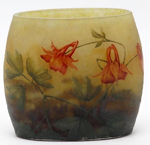 Daum Nancy Acid Cut Cameo Pillow Vase, signed ($1,232.00)